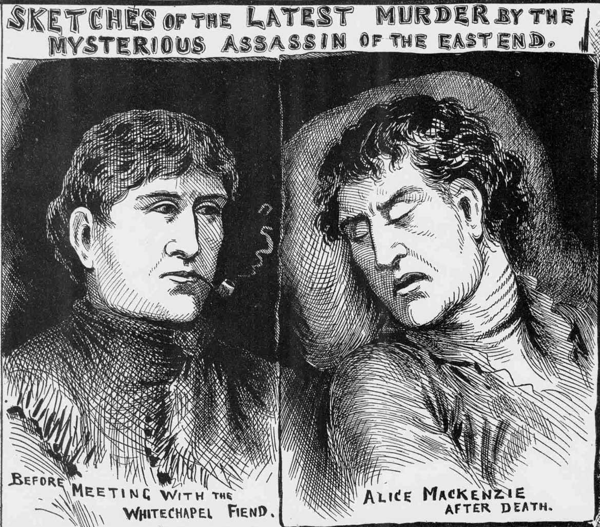 Portraits showing Alice McKenzie before and after death.