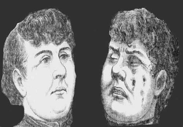 An illustration showing Annie Chapman before and after death.
