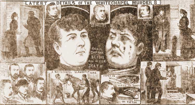 An illustration showing the murder of Annie Chapman.
