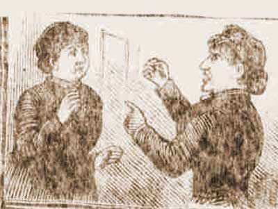 A sketch of Annie Chapman fighting with Eliza Cooper.