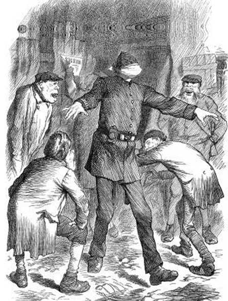Image showing a blindfolded policeman being taunted by villains.