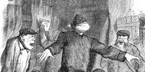 A press illustration showing a blindfolded policeman.