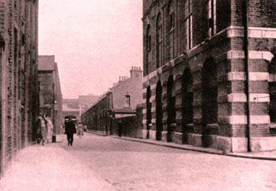 The view along Buck's Row looking east as it was in 1888.