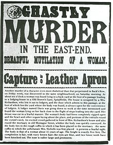 "The poster that reads ""Capture Leather Apron."""