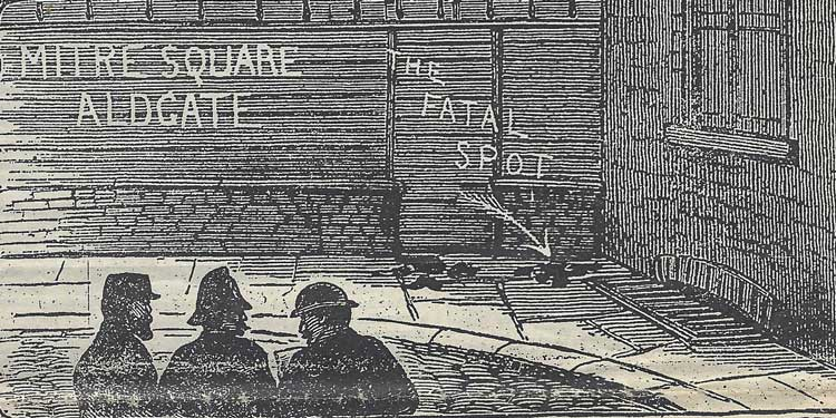 An illustration showing police at the spot where Catherine Eddowes was murdered in Mitre Square.