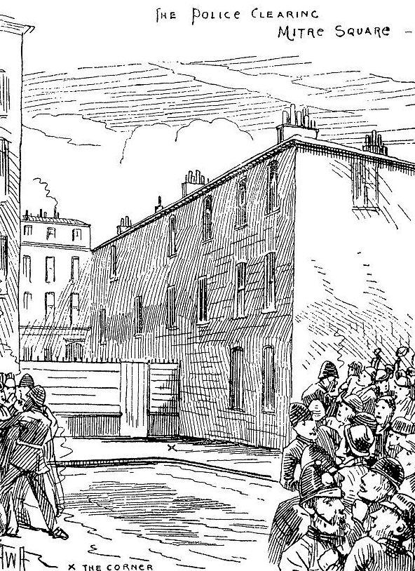 Crowds gathering at the scene of Elizabeth Stride's murder.