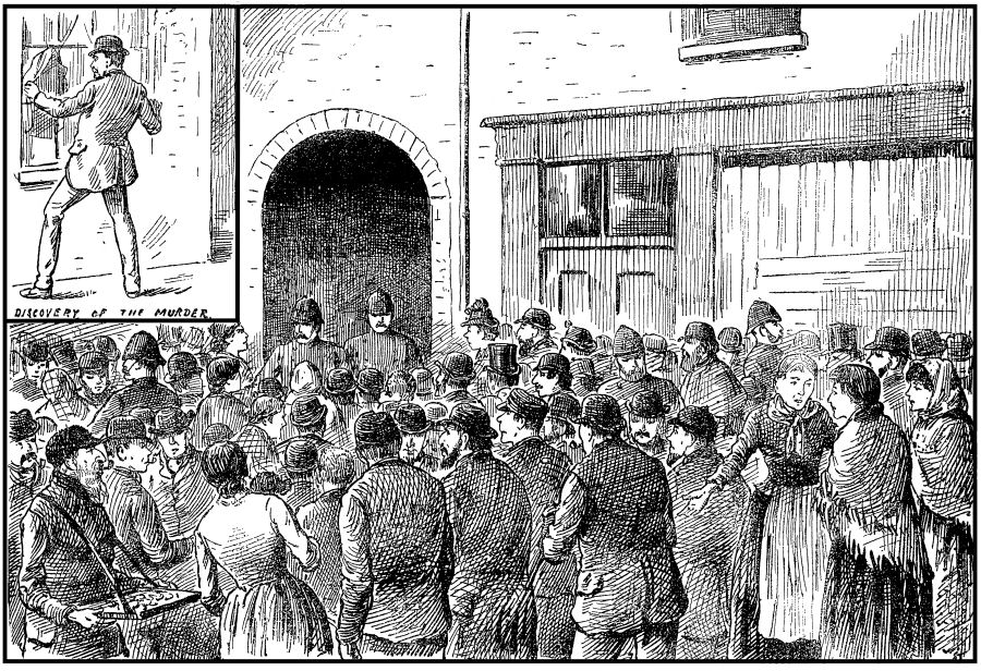 Crowds agthered around the entrance to Miller's Court after Mary Kelly's Murder.