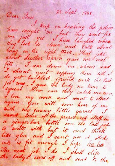 The Dear Boss Jack the Ripper letter.
