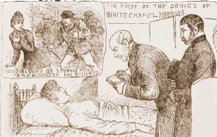 Sketches showing the murder of Emma Smith.
