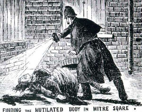 An illustration showing Police Constable Watkins finding the body of Catherine Eddowes in Mitre Square.