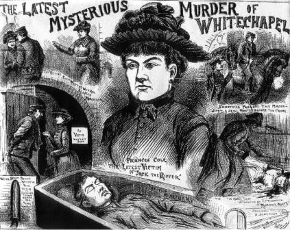 An illustration showing various scenes from the murder of Frances Coles.