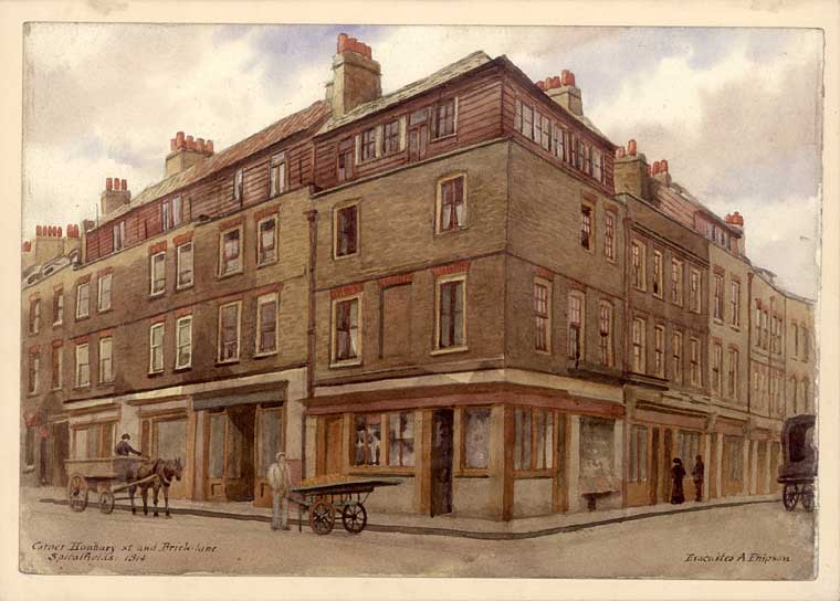 The corner of Hanbury Street and Wilkes Street 1914