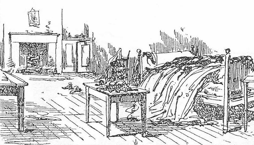 A sketch showing the interior of 13 Miller's Court - Mary Kelly's Room - in 1888.