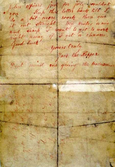 The infamous Dear Boss letter that has the signature Jack the Ripper.