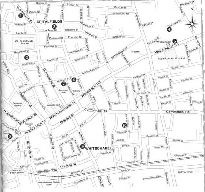 A map showing the locations of the Jack the Ripper murders sites.