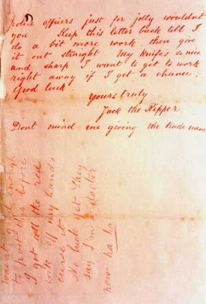A photo of the reverse side of the letter with the signature Jack the Ripper.