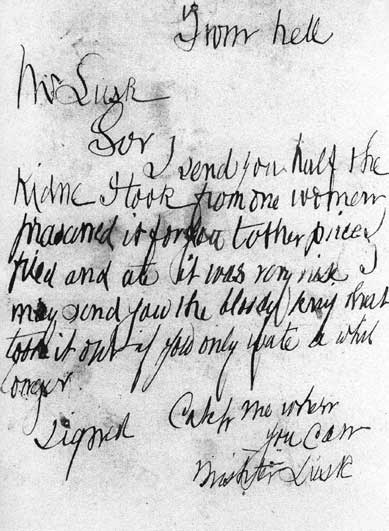 A photo of the From Hell letter.