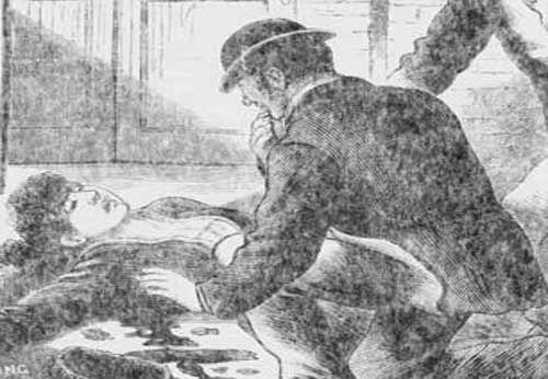 An illustration showing the finding of the body of Martha Tabram.