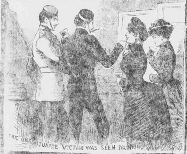 An illustration of Martha Tabram with Pearly Poll and two soldiers.