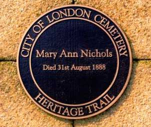 The memorial to Jack the Ripper victim Mary Nichols.