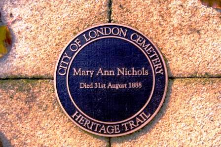 The memorial plaque to Jack the Ripper victim Mary Nichols.