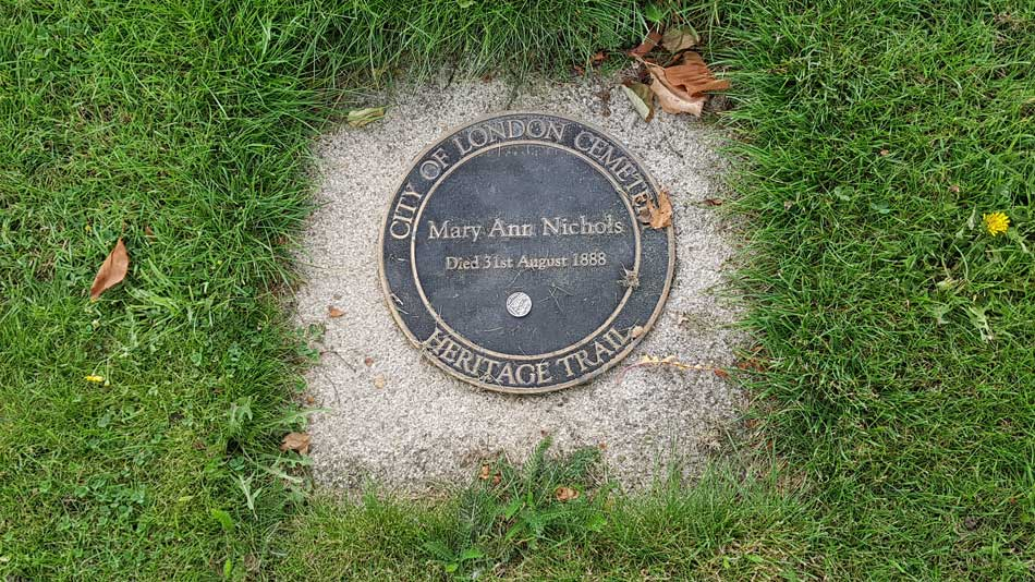 The memoiral plaque to Mary Nichols.