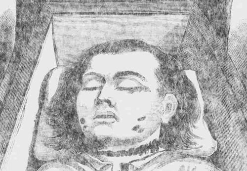 A sketch showing Mary Nichols in her coffin.