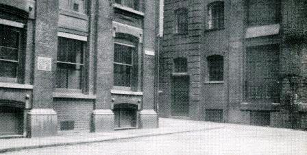 Photo of Mitre Square scene of the fourth Jack the Ripper Murder.