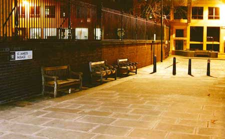 A view of Mitre Square by night