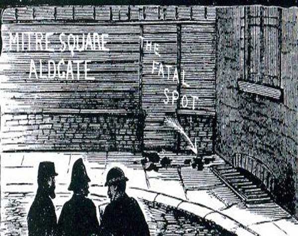 A sketch of the corner in Mitre Square where the body of Catherine Eddowes was found.
