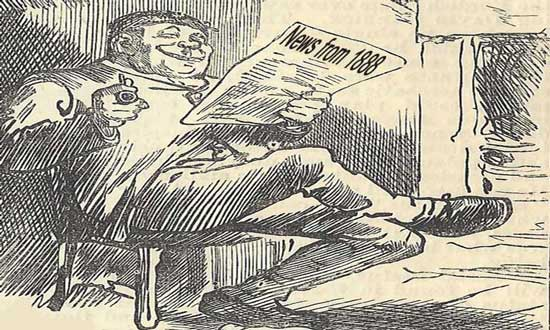 An illustration of a man reading a newspaper.
