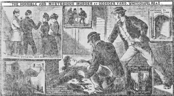 An illustration showing the events in the murder of Martha Tabram.