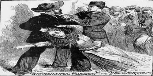 An illustration from a newspaper showing a Jack the Ripper suspect attacking a woman.