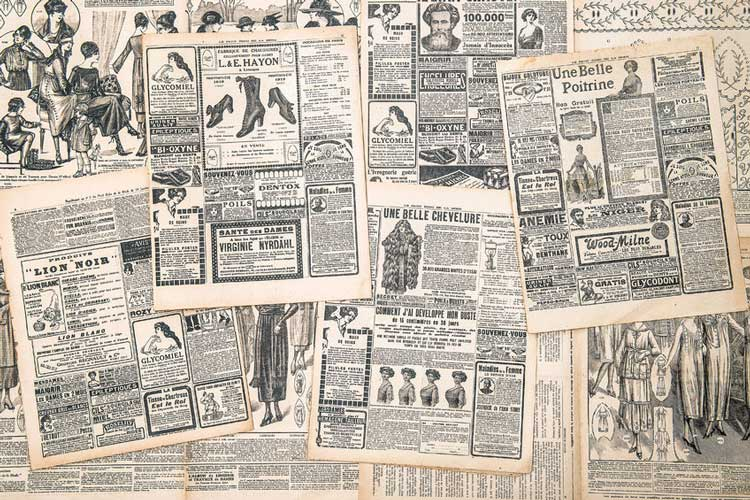 Copies of old newspapers