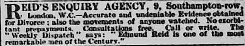 Edmund Reid's advert for his private detective services from the Morning Post.