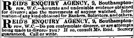 Edmund Reid's advert for his private detective services from the Evening Standard.