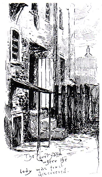 A contemporary sketch showing the site of Annie Chapman's murder..