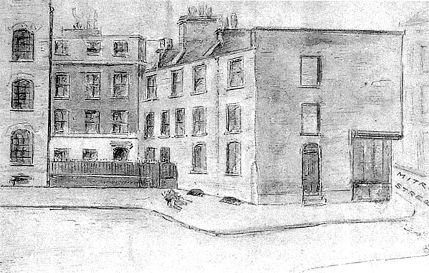 A sketch of Jack the Ripper Murder site in Mitre Square done in 1888.