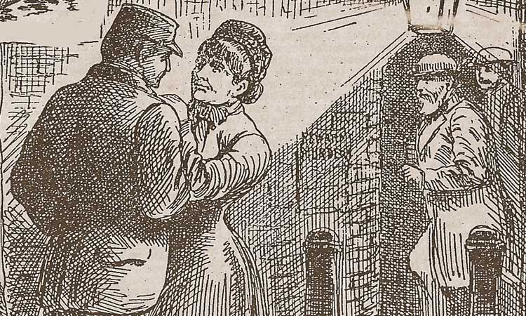 A man talking with a Victorian Prostitute