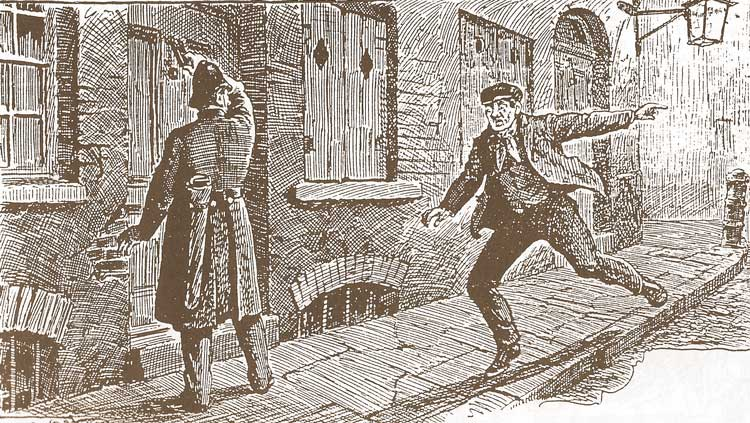 A sketch showing Charles Cross alerting the police officer.