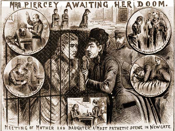 Newspaper illustrations showing Mrs pearcey in prison.