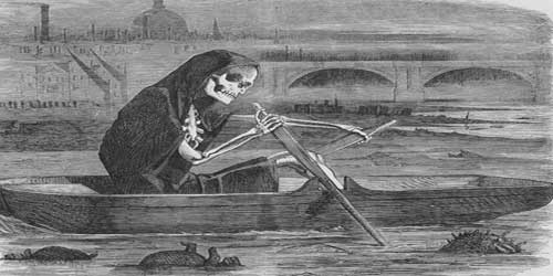 A phantom figure rows a boat on the River Thames.