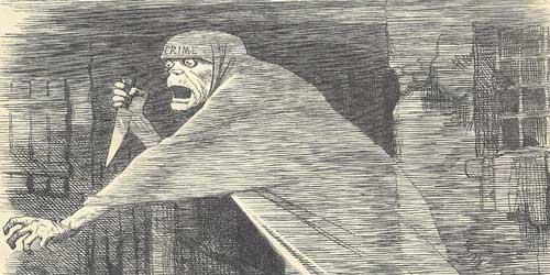 The Punch cartoon, The Nemesis of neglect, showing a hollow-eyed shrouded figure with a large knife.