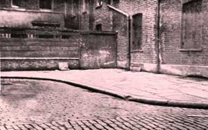 The Mitre Square scene of the murder of Catherine Eddowes.