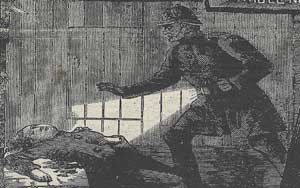 An illustration showing PC Neil finding Mary Nichols body.