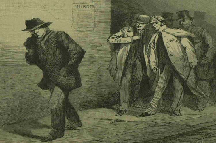 A sketch showing the Whitechapel Vigilance Committee following a suspect.