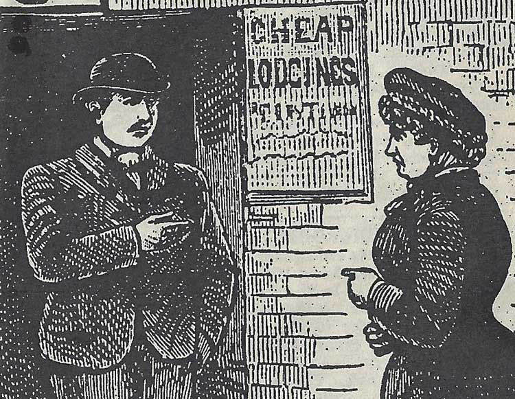 A sketch showing Annie Chapman being turned away from the lodging house by John Evans.