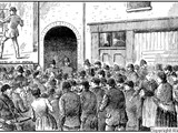 Crowds gathered outside Miller's Court on the day of the murder