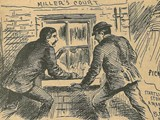 A newspaper sketch showing John McCarthy and Thomas Bowyer discovering Mary Kelly's body