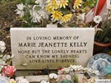 Close up of Mary Kelly's memorial